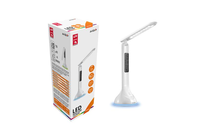 LED skládací dobíjecí lampička s dotykovým ovládáním  - Avide Q2 s hodinami a kalendářem