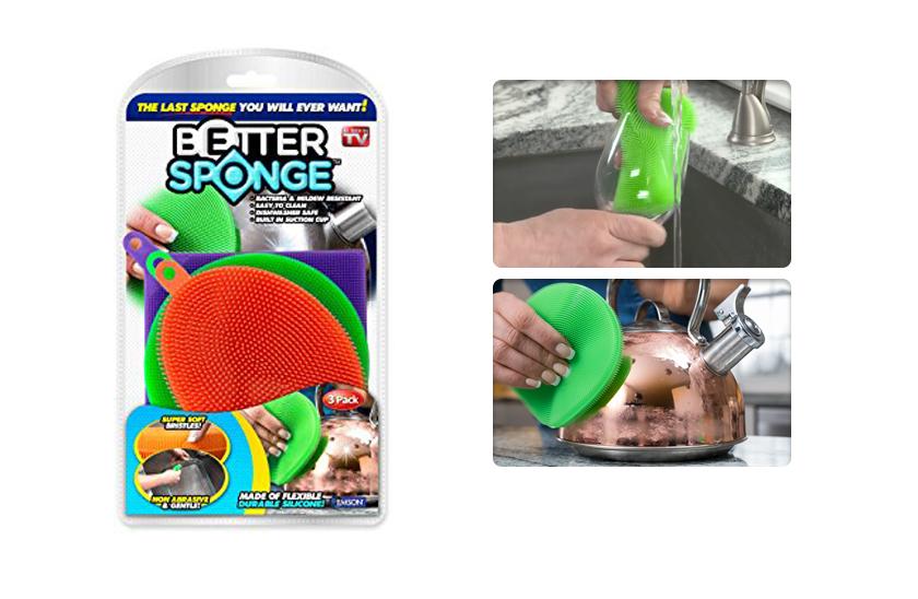 Silikonová houbička na mytí nádobí - 3 kusy