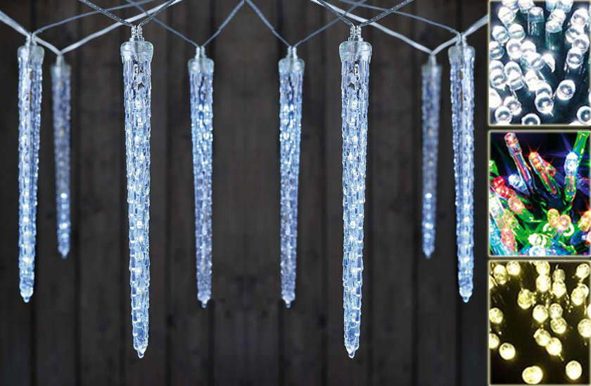 LED světelné rampouchy – 3 barvy – 43 cm