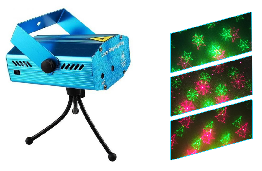 Disco laser – vánoční projektor obrázků – vločka