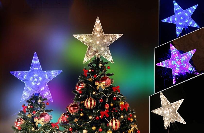 Svítící LED hvězda na vánoční stromeček
