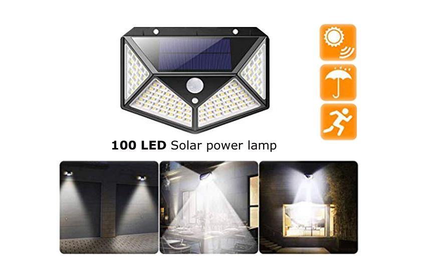 Solární čtyřstranné LED osvětlení s pohybovým senzorem
