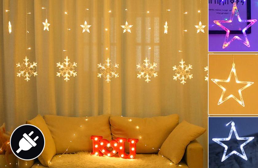 Vánoční LED světelný závěs – vločky