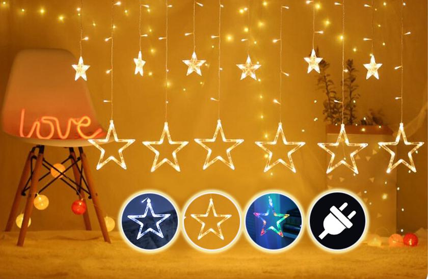 Vánoční LED světelný závěs – hvězdy