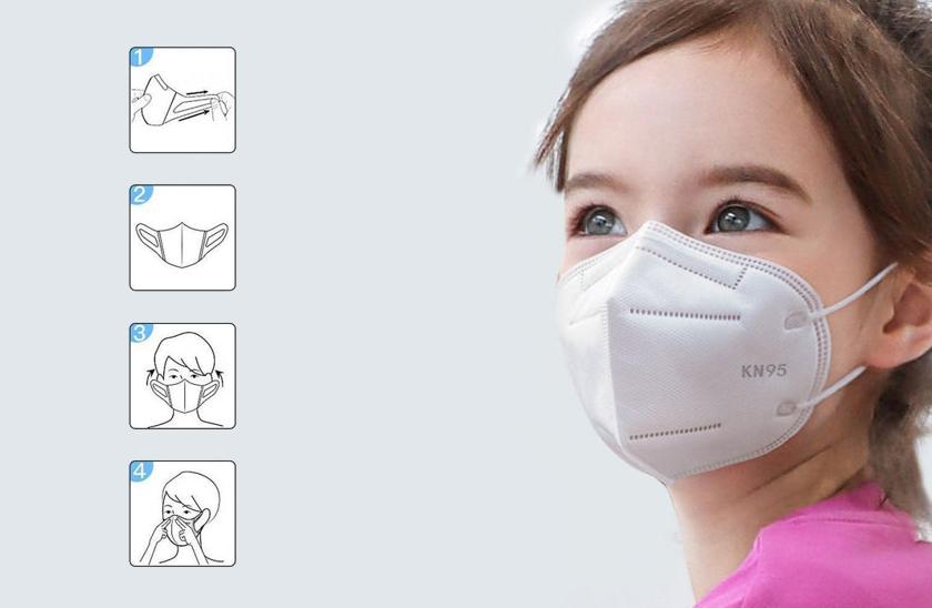 Respirátor FFP2 - KN95 - Respirační rouška - Pro děti bílý