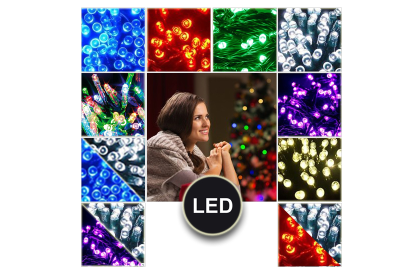 Vánoční osvětlení 210 LED - Řetězy v 6 barvách o délce 21 metrů.
