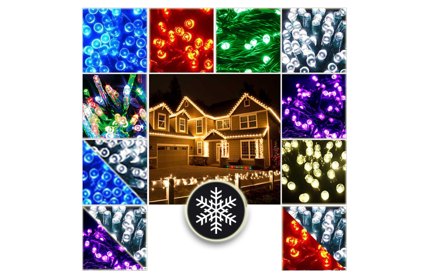 Vánoční venkovní LED řetězy - Efektní světelný řetěz - 10 metrů